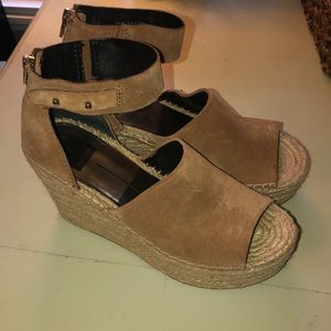 Straw Suede Ankle Strap Peep-Toe Espadrille Wedge